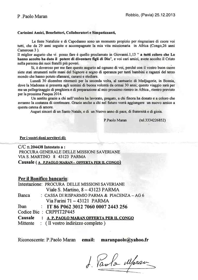 Lettera Padre Paolo Maran